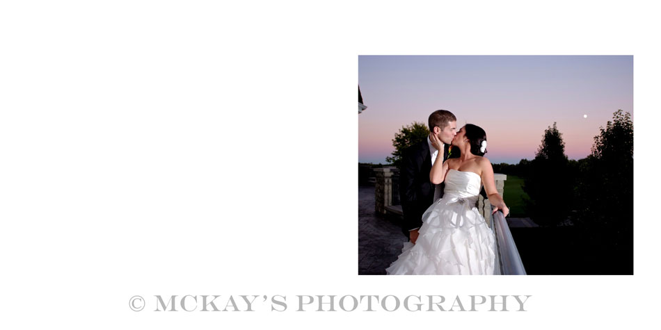 romantic sunset picture of Bride and Groom on wedding day with Moon in the background