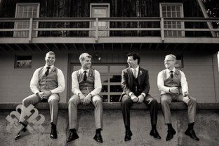 rustic and laid back groomsmen photos for barn wedding