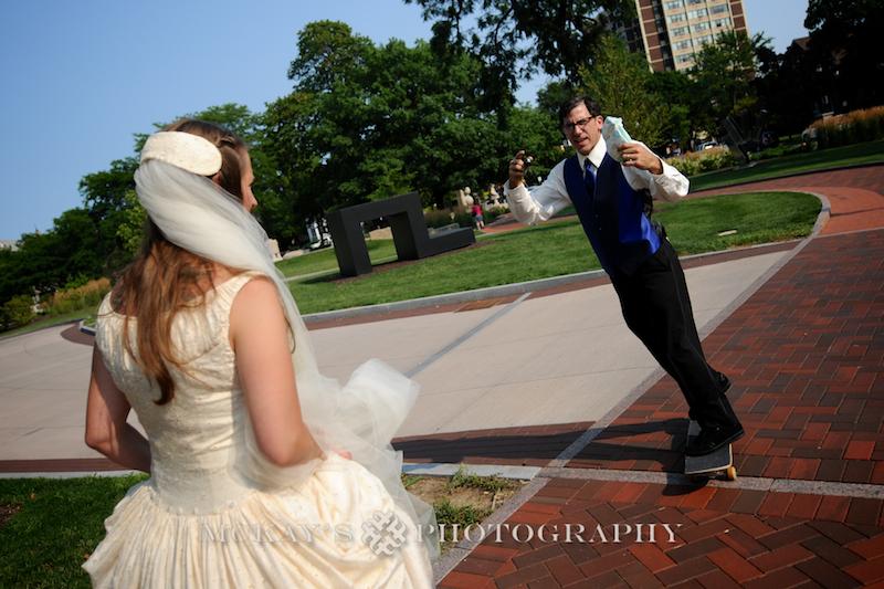 Vintage Wedding Dress and Memorial Art Gallery wedding for skateboarding groom