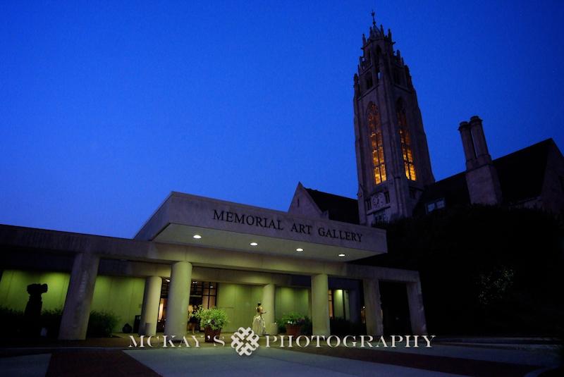 Vintage Wedding Dress and Memorial Art Gallery at night