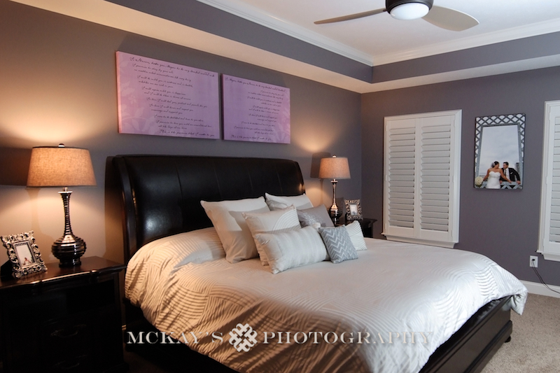 pictures on canvas print and vows on Canvas above bed