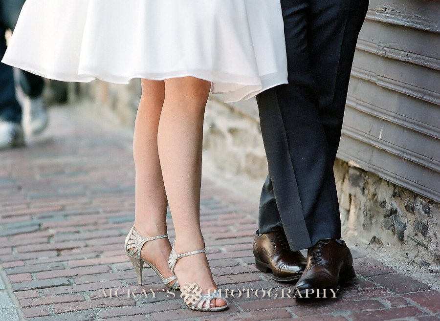 Fine Art Boston Film Wedding Photography of Bride and Groom shoes on cobblestone