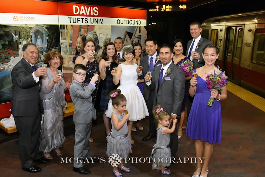 bridal party photos and wedding photos in the subway MBTA for offbeat Boston Wedding