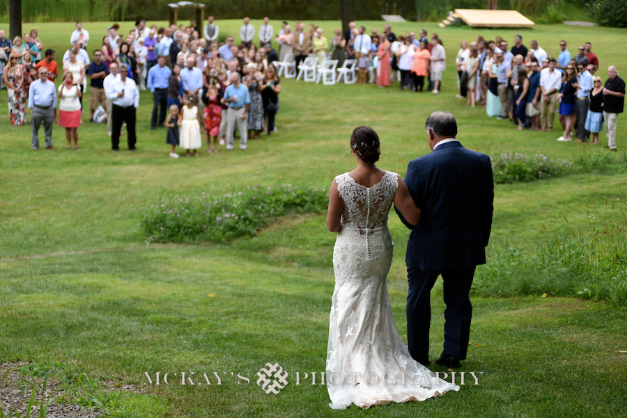 Bride and her Dad at their backyard wedding in the Finger Lakes