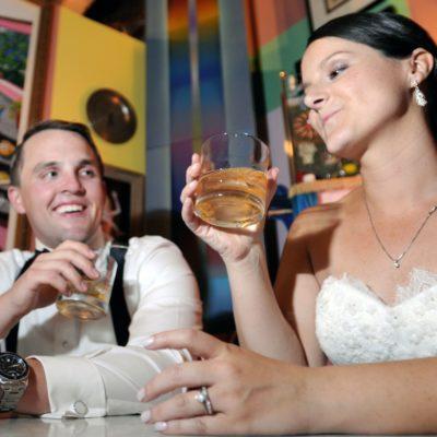 unique wedding photos at Artisan Works art gallery