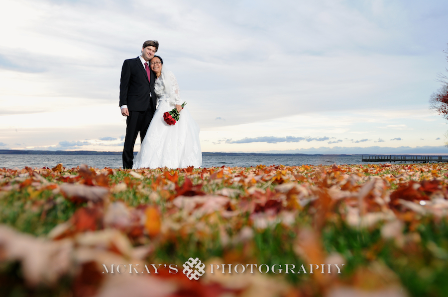 Tong and David had a Small Lakeside Fall Finger Lakes wedding at the EB Morgan House and Inns of Aurora with McKay's Photography