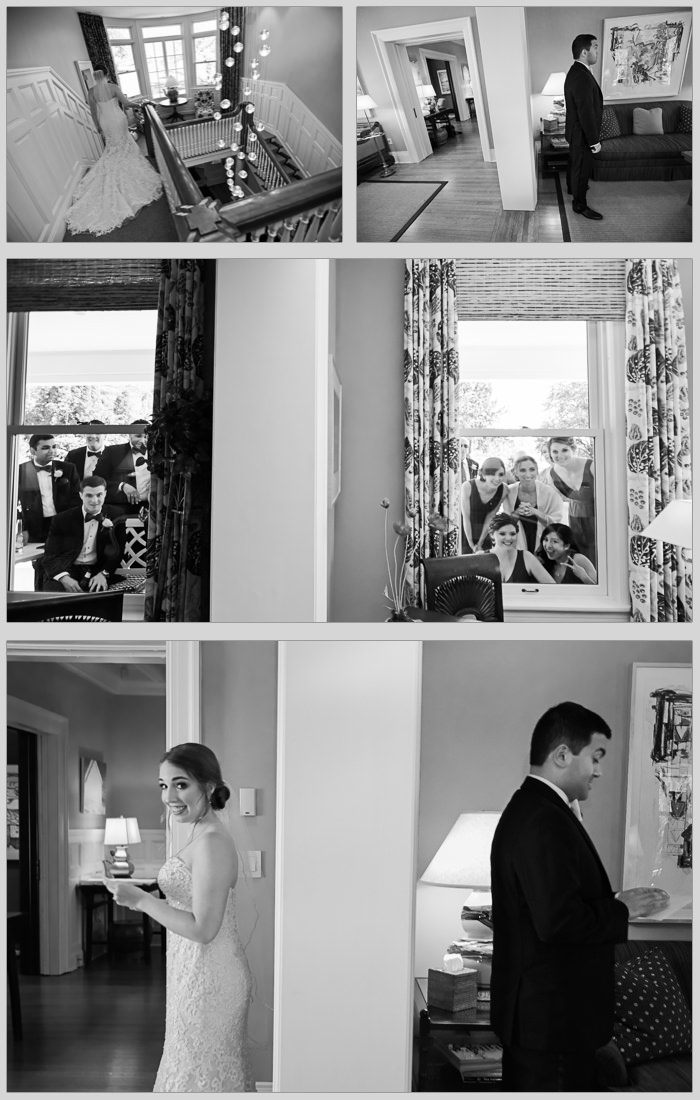 Bride and Groom first look at Rowland House